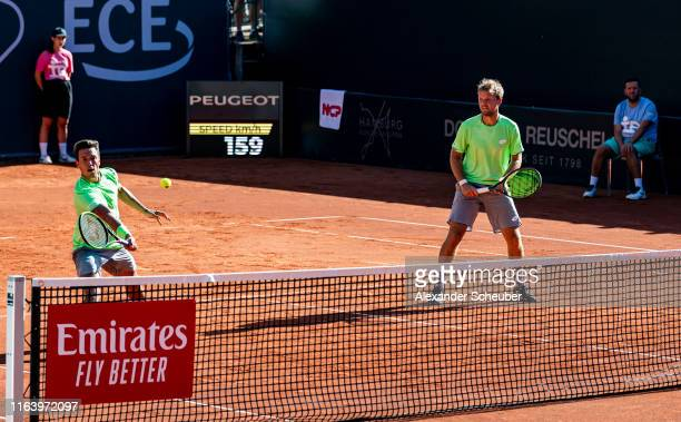 Andreas Mies and Kevin Krawietz of Germany in action during the Hamburg Open 2019 at Rothenbaum on July 24 2019 in Hamburg Germany