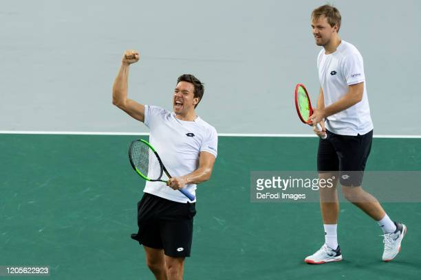 Andreas Mies of Germany and Kevin Krawietz of Germany celebrate after winning the second day of the Davis Cup qualifier between Germany and Belarus...