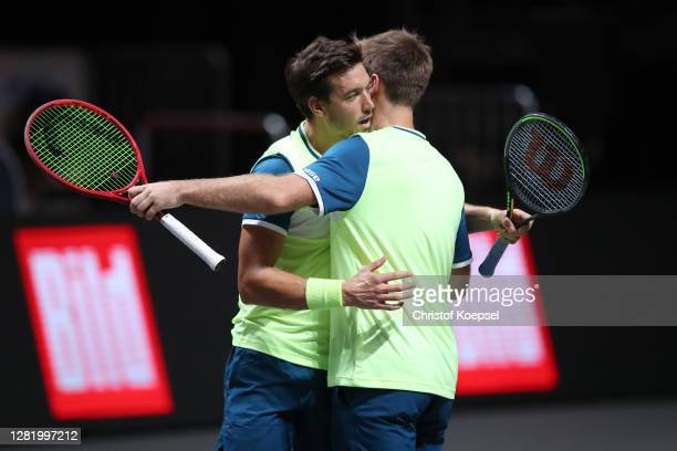 Andreas Mies of Germany and Kevin Krawietz of Germany celebrate winning the double semi final match between Marcus Daniell of New Zealand and Philipp...