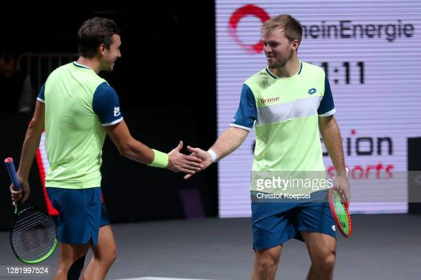 Andreas Mies of Germany and Kevin Krawietz of Germany celebrate during the double semi final match between Marcus Daniell of New Zealand and Philipp...