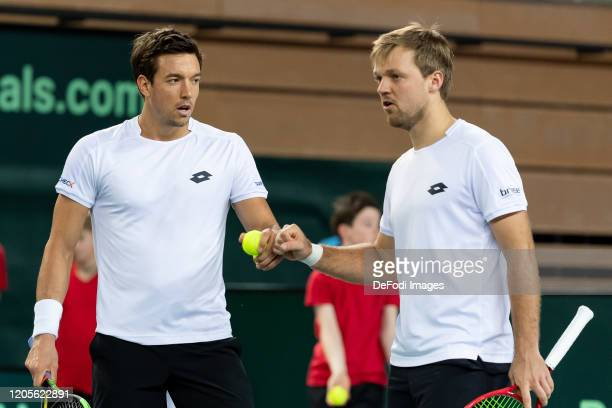 Andreas Mies of Germany and Kevin Krawietz of Germany gestures during the second day of the Davis Cup qualifier between Germany and Belarus at...