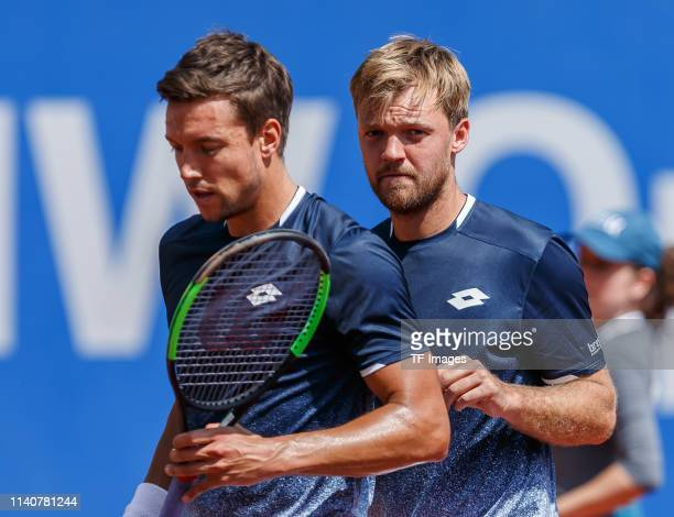 Andreas Mies of Germany and Kevin Krawietz of Germany look on during the BMW Open by FWU at MTTC IPHITOS on May 01 2019 in Munich Germany