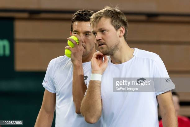 Andreas Mies of Germany and Kevin Krawietz of Germany look on during the second day of the Davis Cup qualifier between Germany and Belarus at...