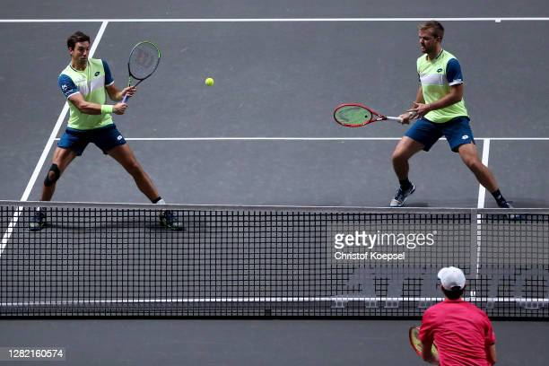 Andreas Mies of Germany and Kevin Krawietz of Germany play during the double final match between Kevin Krawietz of Germany and Andreas Mies of...