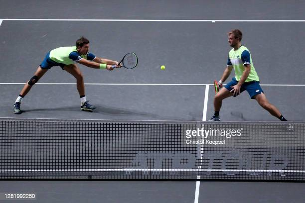 Andreas Mies of Germany plays a backhandk during the double semi final match between Marcus Daniell of New Zealand and Philipp Oswald of Austria and...