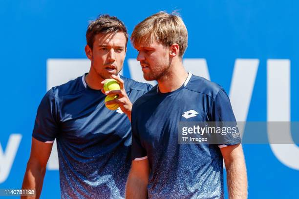 Andreas Mies of Germany speaks with Kevin Krawietz of Germany during the BMW Open by FWU at MTTC IPHITOS on May 01 2019 in Munich Germany