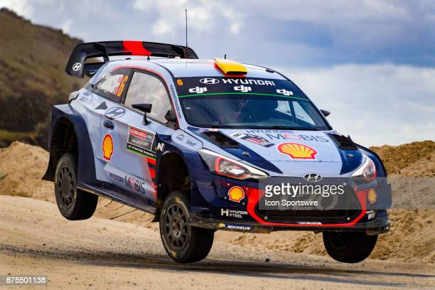 Andreas Mikkelsen and codriver Anders Jaener of Hyundai Motorsport gets some air on a jump during Super Special Stage the Rally Australia round of...