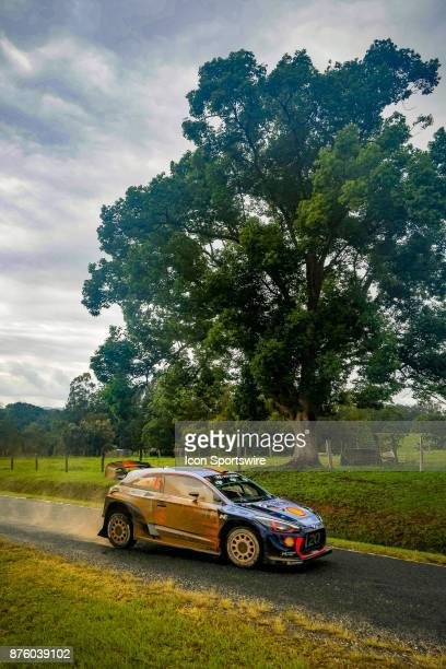 Andreas Mikkelsen and codriver Anders Jaener of Hyundai Motorsport compete on day two of the Rally Australia round of the 2017 FIA World Rally...