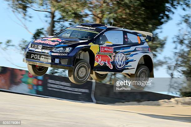 Andreas Mikkelsen and Ola Floene in Volkswagen Polo R WRC of team Volkswagen Motorsport during the shakedown of WRC Vodafone Rally Portugal 2015 at...
