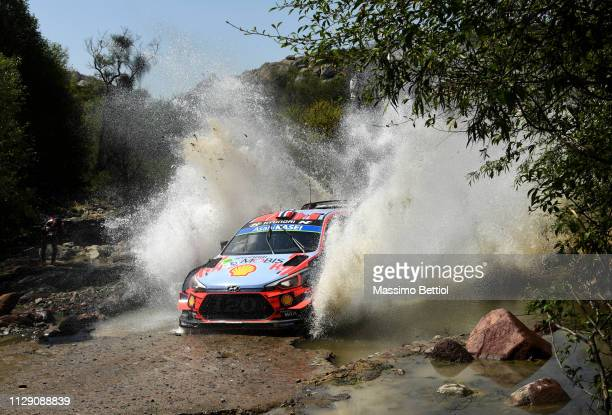 Andreas Mikkelsen of Norway and Anders Jaeger of Norway compete in their Hyundai Shell Mobis WRT Hyundai i20 Coupe WRC during the shakedown of the...