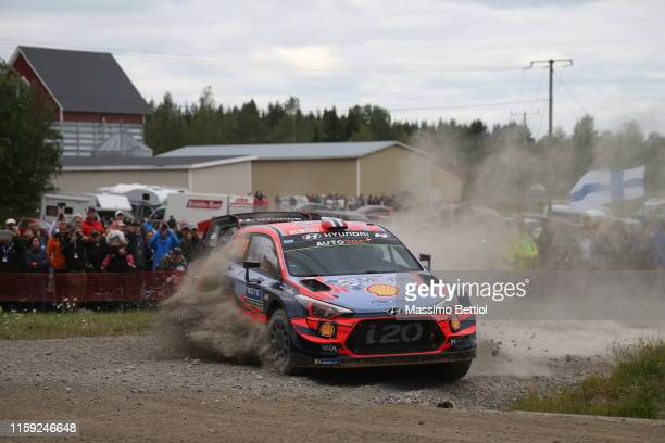 Andreas Mikkelsen of Norway and Anders Jaeger of Norway compete in their Hyundai Shell Mobis WRT Hyundai i20 Coupe WRC during Day One of the FIA WRC...