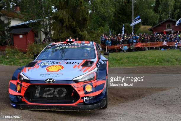 Andreas MIkkelsen of Norway and Anders Jaeger of Norway compete in their Hyundai Shell Mobis WRT Hyundai i20 Coupe WRC during Day Two of the FIA WRC...