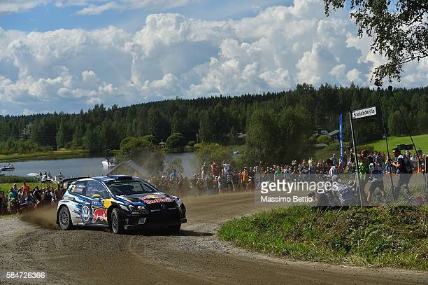 Andreas MIkkelsen of Norway and Anders Jaeger of Norway compete in their Volkswagen Motorsport II Volkswagen Polo R WRC during Day Two of the WRC...