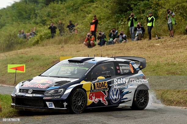 Andreas Mikkelsen of Norway and Anders Jaeger of Norway compete in their Volkswagen Motorsport II Volkswagen Polo R WRC during the Shakedown of the...