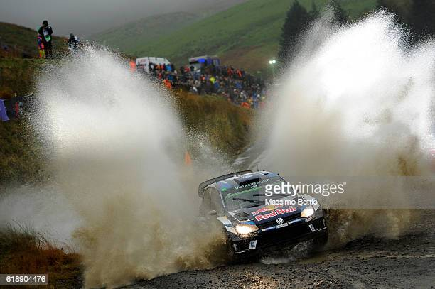 Andreas Mikkelsen of Norway and Anders Jaeger of Norway compete in their Volkswagen Motorport II Volkswagen Polo R WRC during Day One of the WRC...