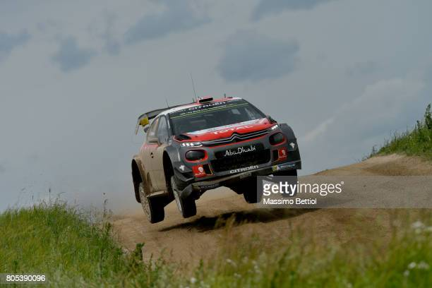 Andreas Mikkelsen of Norway and Anders Jaeger of Norway compete in their Citroen Total Abu Dhabi WRT Citroen C3 WRC during Day Two of the WRC Poland...
