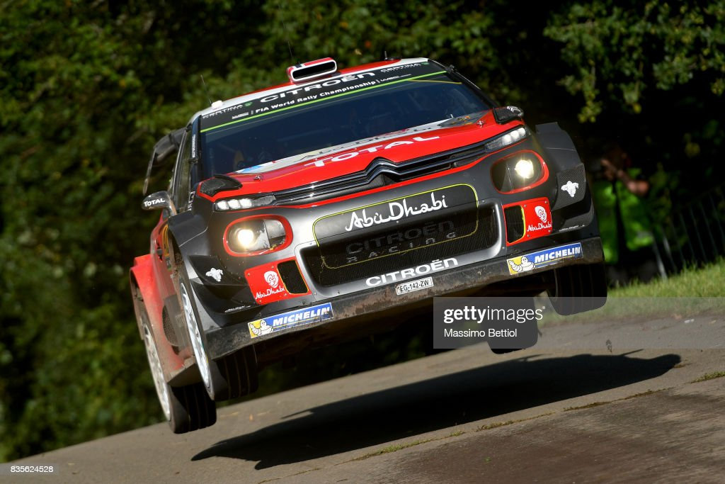 Andreas Mikkelsen of Norway and Anders Jaeger of Norway compete in their Citroen Total Abu Dhabi WRT Citroen C3 WRC during Day Two of the WRC Germany on August 19, 2017 in Trier, Germany.