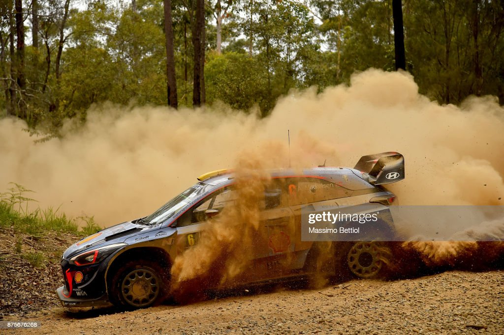 Andreas Mikkelsen of Norway and Anders Jaeger of Norway compete in their Hyundai Motorsport WRT Hyundai i20 coupe WRC during Day Two of the WRC Australia in special stage number 10 Newry on November 18, 2017 in Coffs Harbour, Australia.