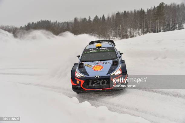 Andreas Mikkelsen of Norway and Anders Jaeger of Norway compete in their Hyundai Shell Mobis WRT Hyundai i20 Coupe WRC during Day One of the WRC...