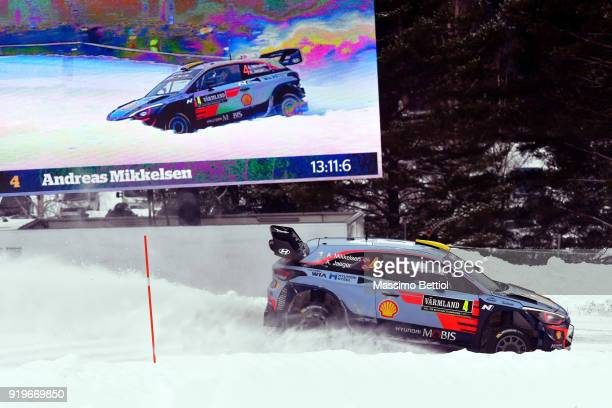 Andreas Mikkelsen of Norway and Anders Jaeger of Norway compete in their Hyundai Shell Mobis WRT Hyundai i20 Coupe WRC during Day Two of the WRC...