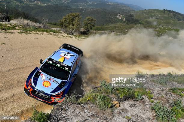 Andreas Mikkelsen of Norway and Anders Jaeger of Norway compete in their Hyundai Shell Mobis WRT Hyundai i20 Coupe WRC during Day Three of the WRC...