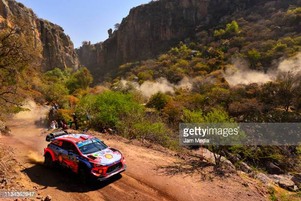 Andreas Mikkelsen of Norway and Anders Jaeger of Norway compete with the Hyundai Shell Mobis World Rally Team during the FIA World Rally Championship...