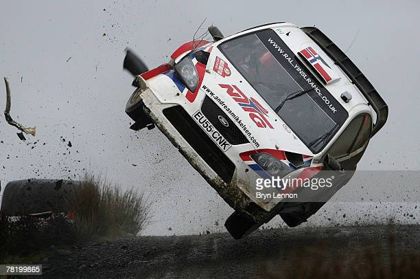Andreas Mikkelsen of Norway and Ford crashes out on the Halfway stage of the 2007 FIA Wales Rally GB on November 30 2007 near Llandovery Wales