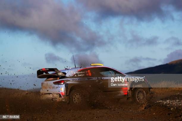 Andreas Mikkelsen of Norway and Hyundai Motorsport drives with codriver Anders Jaeger of Norway during day one of the FIA World Rally Championship...