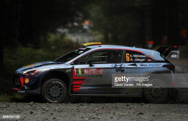 Andreas Mikkelsen of Norway and Hyundai Motorsport drives with codriver Anders Jaeger of Norway during day four of the Dayinsure Wales Rally GB PRESS...