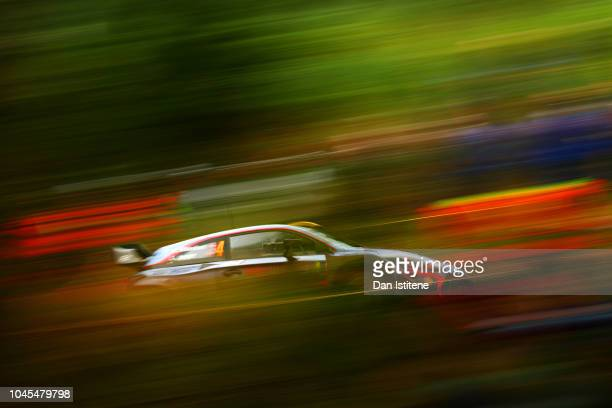 Andreas Mikkelsen of Norway and Hyundai Shell Mobis WRT drives with codriver Anders JaegerSyneevaag of Norway during the Shakedown on day one of the...