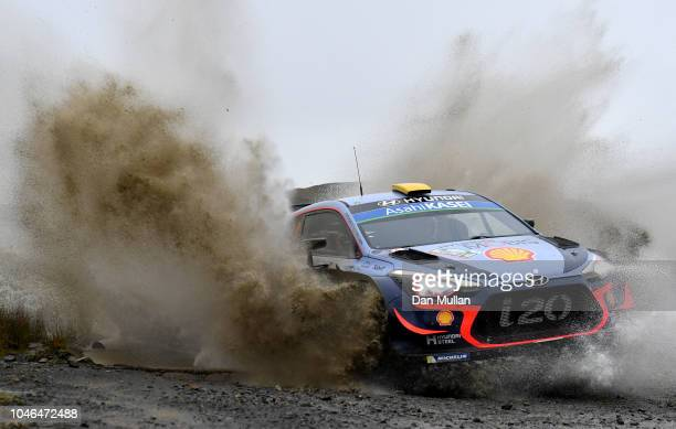 Andreas Mikkelsen of Norway and Hyundai Shell Mobis WRT drives with codriver Anders JaegerSyneevaag of Norway during the Sweet Lamb stage on day...