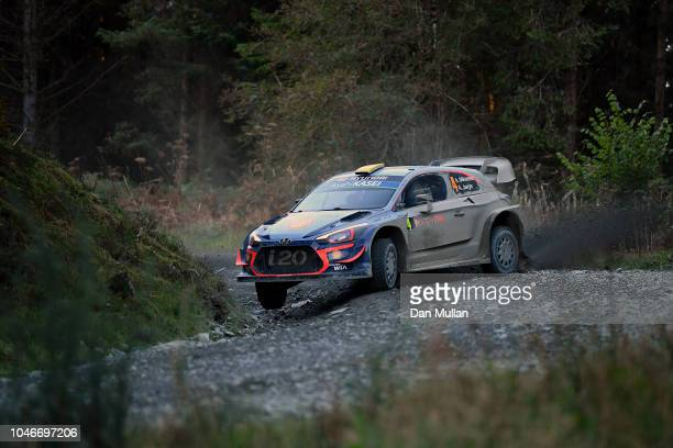 Andreas Mikkelsen of Norway and Hyundai Shell Mobis WRT drives with codriver Anders JaegerSyneevaag of Norway during the Dyfi stage on day three of...
