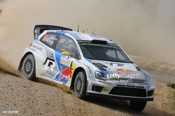 Andreas Mikkelsen of Norway and Ola Floene of Norway compete in their Volkswagen Motorsport II Polo R WRC during the Shakedown of the WRC Poland on...