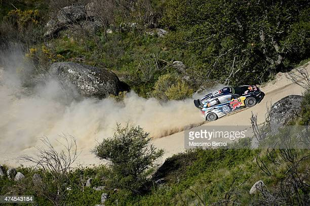 Andreas Mikkelsen of Norway and Ola Floene of Norway compete in their Volkswagen Motorsport II Volkswagen Polo R WRC during Day Two of the WRC...