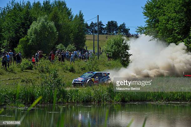 Andreas Mikkelsen of Norway and Ola Floene of Norway compete in their Volkswagen Motorsport II Volkswagen Polo R WRC during Day One of the WRC Poland...
