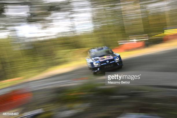 Andreas Mikkelsen of Norway and Ola Floene of Norway compete in their Volkswagen Motorsport II Volkswagen Polo R WRC during the Shakedown of the WRC...