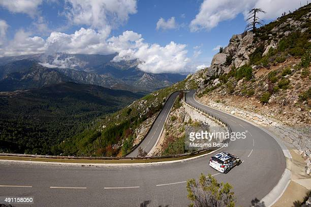 Andreas Mikkelsen of Norway and Ola Floene of Norway compete in their Volkswagen Motorsport II Volkswagen Polo R WRC during Day Two of the WRC France...