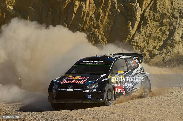 Andreas Mikkelsen of Norway and Ola Floene of Norway compete in their Volkswagen Motorsport II Volkswagen Polo R WRC during Day One of the WRC Spain...