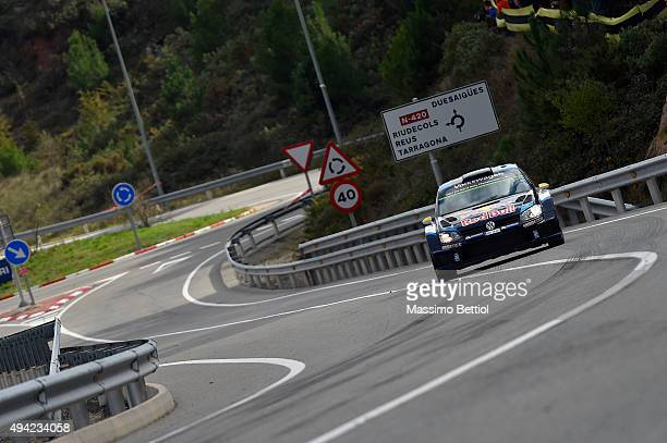 Andreas Mikkelsen of Norway and Ola Floene of Norway compete in their Volkswagen Motorport II Volkswagen Polo R WRC during Day Three of the WRC Spain...