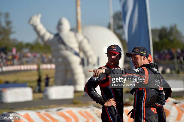 Andreas Mikkelsen of Norway and Thierry Neuville of Belgium taken before SSS 17/18 Autodromo de Leon during Day Two of the WRC Mexico on March 10...