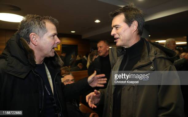 Andreas Moeller and Thomas Berthold attend the Club Of Former National Players Meeting at Commerzbank Arena on November 19, 2019 in Frankfurt am...