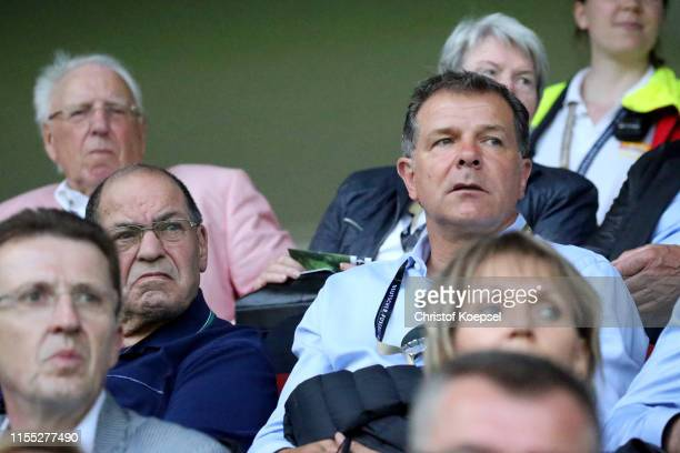 Andreas Moeller of the Club of Former National Players Regional Meeting watches the UEFA Euro 2020 Qualifier match between Germany and Estonia at...