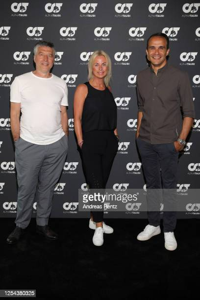 Andreas Murkudis Tanja Guendling VP AlphaTauri and CEO AlphaTauri Ahmet Mercan attend the AlphaTauri Collection Preview Spring/Summer 2021 at Hotel...