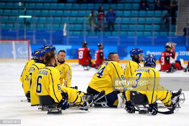 Andreas Nejman goaltender of Sweden looks dejected after the Ice Hockey Preliminary Round Group A game between Canada and Sweden during day one of...
