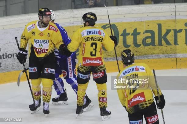 Andreas Noedl of Vienna Peter Schneider of Vienna and Sondre Olden of Vienna during the Vienna Capitals v EC VSV Erste Bank Eishockey Liga at Erste...