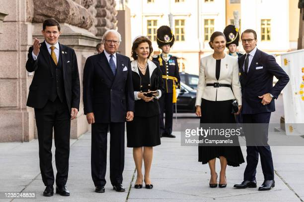 Andreas Norlen greets King Carl XVI Gustaf, Queen Silvia of Sweden, Crown Princess Victoria of Sweden and Prince Daniel of Sweden while attending a...