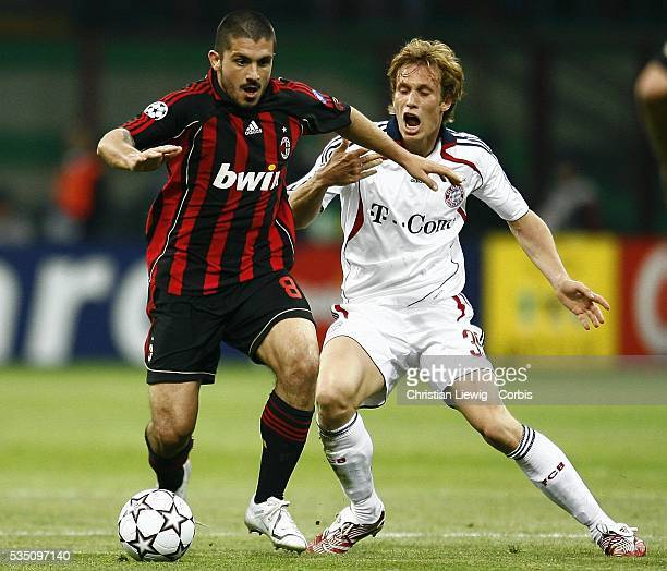 Andreas Ottl and Gennaro Gattuso during the 20062007 UEFA Champions League match between Milan AC and Bayern Munich