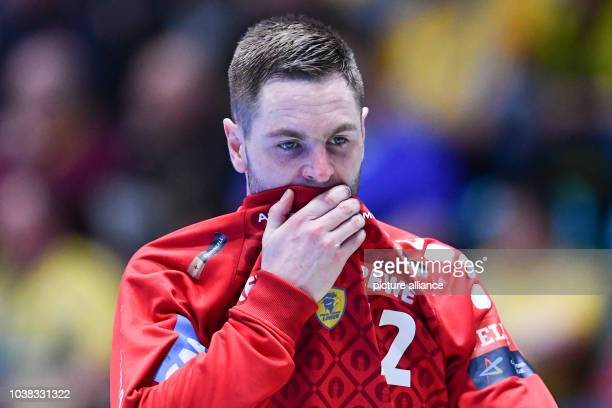 Andreas Palicka goalkeeper of RheinNeckar Loewen reacts during the Champions League group phase group B handball match between RheinNeckar Loewen and...