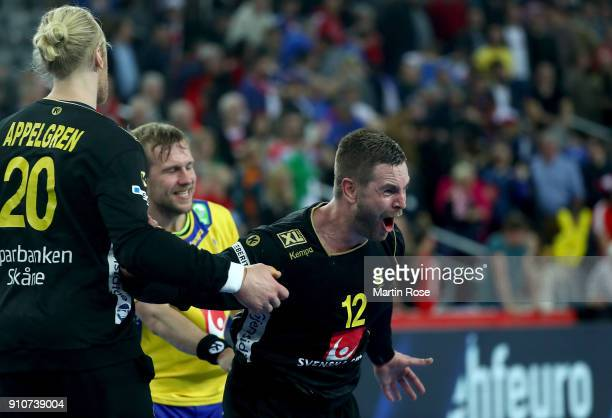 Andreas Palicka goalkeeper of Sweden celebrates after the Men's Handball European Championship semi final match between Denmark and Sweden at Arena...