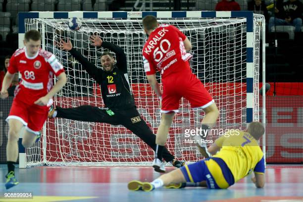 Andreas Palicka goalkeeper of Sweden makes a safe during the Men's Handball European Championship main round match between Sweden and Belarus at...